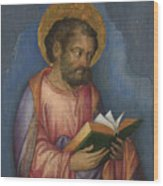 A Saint With A Book Wood Print