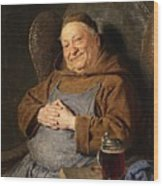 A Seated Monk With A Tankard Wood Print