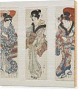 A Set Of Three Woodblock Prints Kakemono Wood Print