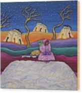 A Snowy Night Wood Print by Anne Klar