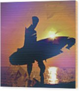 A Surfer Watching The Waves At Sunset Wood Print