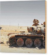 A T-80 Tank Destroyed By Nato Forces Wood Print