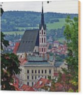 A View Of Cesky Krumlov In The Czech Republic Wood Print