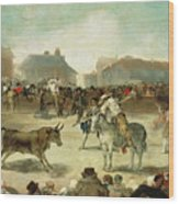 A Village Bullfight Wood Print