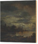 A Village By A River In Moonlight Wood Print
