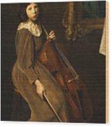 A Young Violoncellist Wood Print