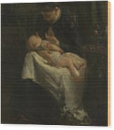 A Young Woman Nursing A Baby Wood Print