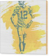 Aaron Rodgers Green Bay Packers Water Color Art 1 Wood Print