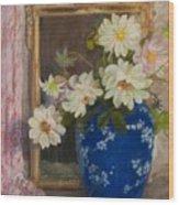 Abbott Graves 1859-1936 Flowers In A Blue Vase Wood Print