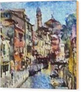 Abstract Canal Scene In Venice L A S Wood Print