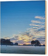 Abstract Early Morning Sunrise Over Farm Land Wood Print
