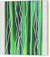 Abstract Lines On Green Wood Print