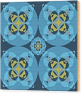 Abstract Mandala Cyan, Dark Blue And Yellow Pattern For Home Decoration Wood Print