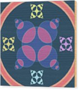 Abstract Mandala Pink, Dark Blue And Cyan Pattern For Home Decoration Wood Print