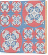Abstract Mandala White, Pink And Blue Pattern For Home Decoration Wood Print