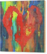 Abstract Red Heart Acrylic Painting Wood Print