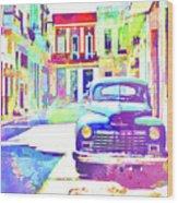 Abstract Watercolor - Havana Cuba Classic Car IIi Wood Print