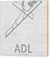 Adl Adelaide Airport In Adelaide Australia Runway Silhouette Wood Print