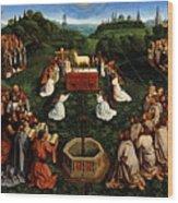 Adoration Of The Mystic Lamb Wood Print