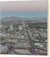 Aerial View Of Las Vegas City Wood Print