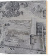 Aerial View Of Open Pit Sand Quarries.  View From Above.  Wood Print