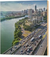 Aerial View Of The Austin Skyline As Rush Hour Traffic Picks Up On I-35 Wood Print