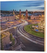 Aerial View On Placa Espanya And Montjuic Hill With National Art Wood Print