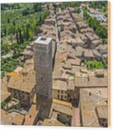 Aerial Wide-angle View Of The Historic Town Of San Gimignano Wit Wood Print