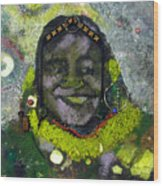 African Bead Painting Wood Print