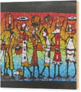 African Woman Carrying On Head Wood Print