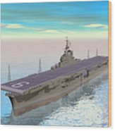 Aircraft Carrier - 3d Render Wood Print
