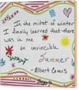 Albert Camus Doodle Quote Wood Print