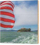 Alcatraz Island With American Flag Wood Print
