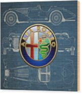 Alfa Romeo 3 D Badge Over 1938 Alfa Romeo 8 C 2900 B Vintage Blueprint Wood Print