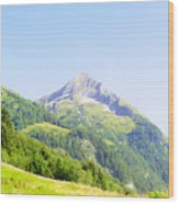 Alpine Mountain Peak Landscape. Wood Print