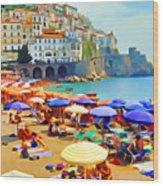 Amalfi Beach Wood Print