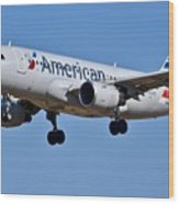 American Airlines Plane Preparing To Land At The Bwi Airport Wood Print