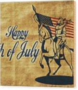 American Cavalry Soldier Wood Print by Aloysius Patrimonio