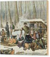 American Forest Scene Maple Sugaring Wood Print