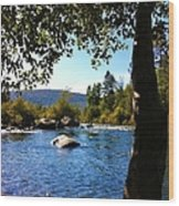 American River Through The Trees Wood Print