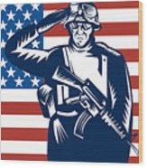American Soldier Saluting Flag Wood Print by Aloysius Patrimonio