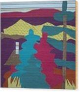 Among The Pines Wood Print