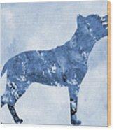 Amstaff-blue Wood Print