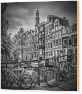 Amsterdam Flower Canal Black And White Wood Print