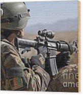 An Afghan Commando Scans The Horizon Wood Print