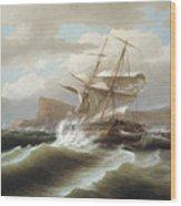 An American Ship In Distress Wood Print