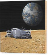 An Artists Depiction Of A Lunar Base Wood Print