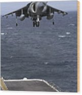 An Av-8b Harrier II Prepares To Land Wood Print