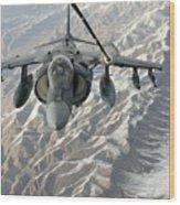 An Av-8b Harrier Receives Fuel Wood Print