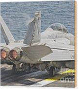 An Fa-18f Super Hornet Taking Off Wood Print